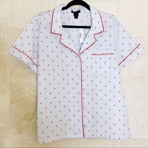 J. Crew Short Sleeved Button Down Pajama Top